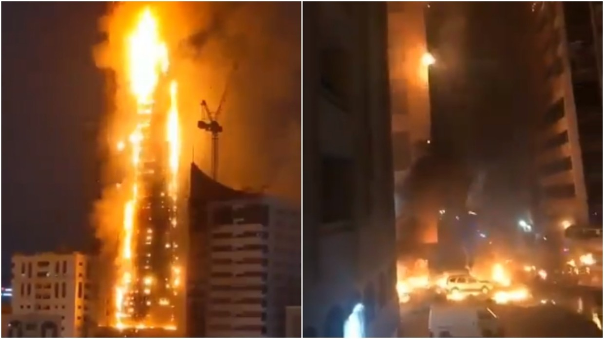 Massive blaze engulfs high-rise building in UAE