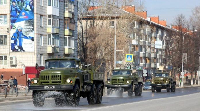 In Siberia the military launched a massive disinfection of city streets