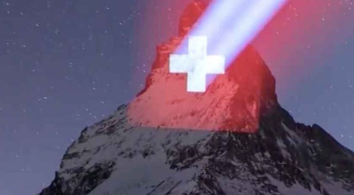 Motivating words for patients COVID-19 appeared on a mountain in Switzerland