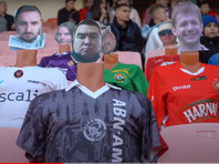 On the football arena of Belarus is the fans seated mannequins