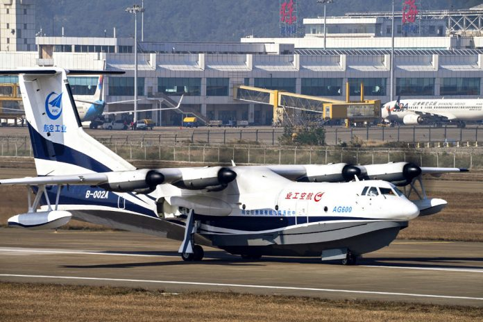 The Chinese held sea trials of the worlds largest seaplane