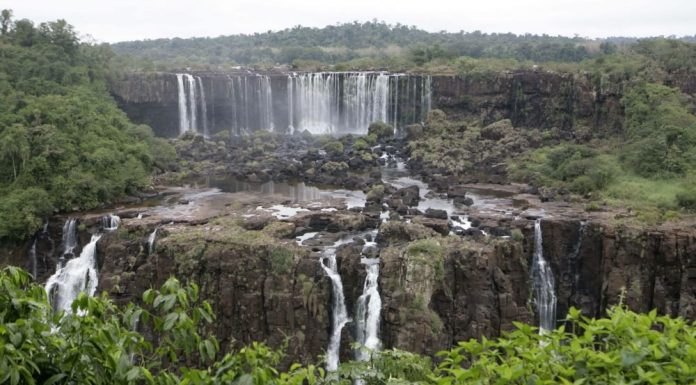 The famous Iguazu falls significantly lower