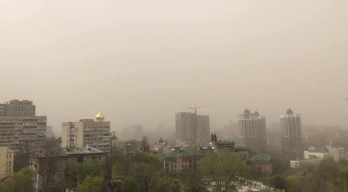 The sky over Kiev was closed dense cloud of dust
